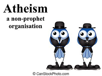 Atheism a non prophet organisation isolated on white background with copy space for own text