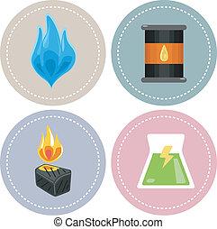 non-renewable, energía, iconos