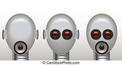 non, robot, mal, voir, entendre, mal, parler