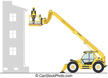Non rotating telehandler with bucket on a white background....
