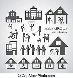 non, service, profit, symbol, social, volontär