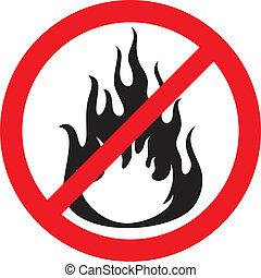non, signe, brûler