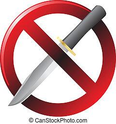 non, signe, couteau