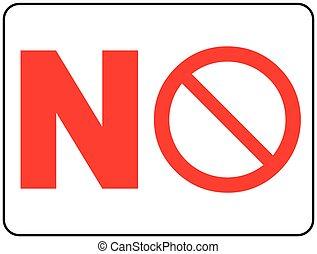 non, signe., isolé, prohibition, vecteur, illustration, cercle blanc, rouges