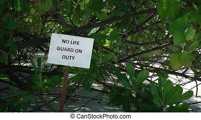 non, signe, maître nageur, plage, devoir, exotique, recours