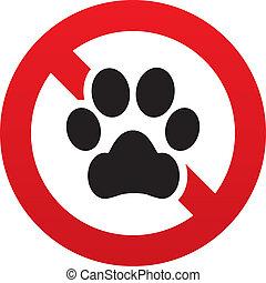 non, signe., patte, chien, prohibition, symbole., animaux ...