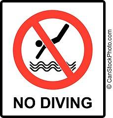 non, signe., prohibition, vecteur, plongée, cercle, symbole...