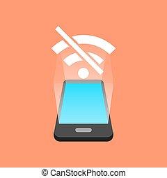 non, smartphone, concept., isométrique, signal, design.