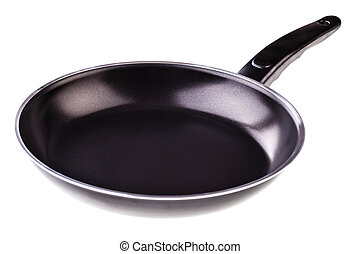 Non stick pan on white - a black nonstick pan isolated over ...