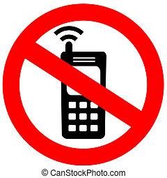 non, téléphone portable, signe