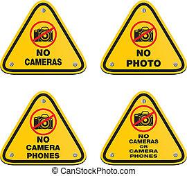 non, téléphones, cameras, appareil photo, signes, ou
