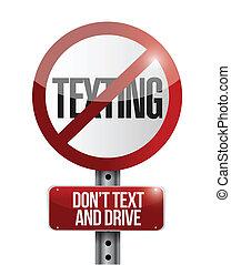non, texting, illustration, signe, conception, route