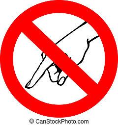 non, tocco, simbolo di avvertenza