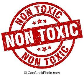 non toxic round red grunge stamp