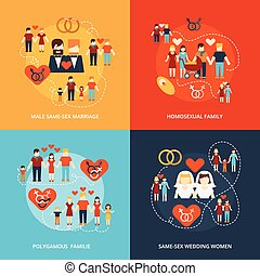 Non-traditional family icons composition - Nontraditional...
