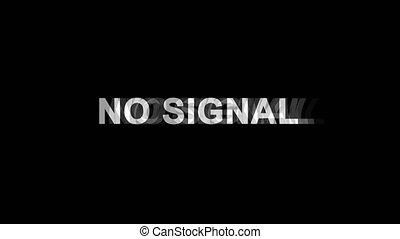 non, tv, texte, signal, effet, déformation, glitch, animation, 4k, numérique, boucle