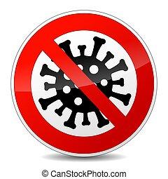 non, vecteur, signe, icône, virus