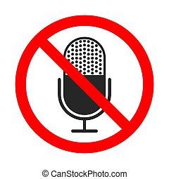 non, vecteur, signe., icon., microphone, icône, enregistrement