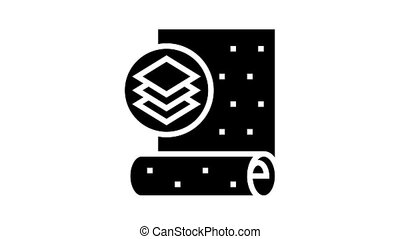 non-woven wallpaper animated glyph icon. non-woven wallpaper sign. isolated on white background