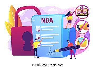 nondisclosure, concept, vector, overeenkomst, illustratie