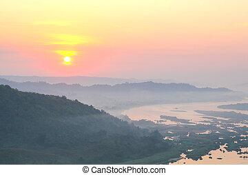nong, βουνά , isan, huay, thailand., ανατολή , αντάρα , khai, phu , βλέπω
