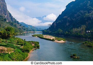 nong, khiaw, fluß, nördlich , von, laos
