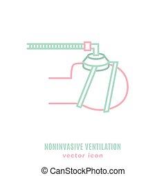 noninvasive, ventilation, poumon, icône