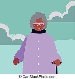 nonna, carattere, disegno, famiglia, fuori