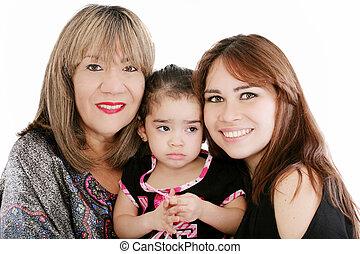 nonna, con, adulto, figlia, e, nipote