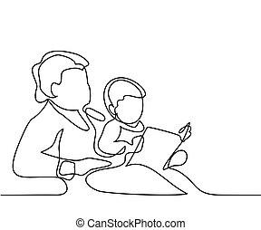 nonna, con, nipote, eading, libro