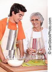 nonna, cottura, nipote, insieme