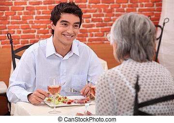 nonna, detenere, pasto, nipote, ristorante