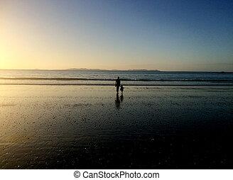 nonna, e, nipote, camminare, spiaggia, su, tramonto