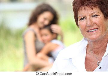 nonna, figlia, stato piedi, fondo, nipote