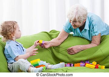 nonna, gioco, nipote