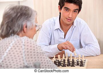 nonna, gioco, nipote, scacchi
