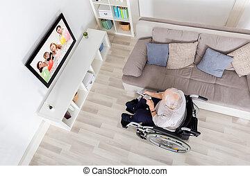 nonna, handicappato, televisione, casa, osservare