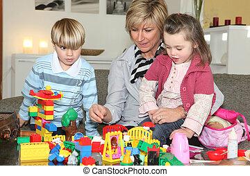 nonna, lei, gioco, nipoti