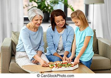 nonna, madre, mangiare, figlia, pizza