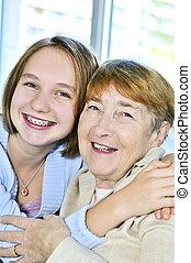 nonna, nipote, visitare