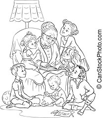 nonna, poltrona, bambini