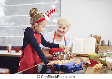 nonna, ragazza, cottura, cucina
