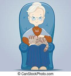 nonna, sedia, gatto