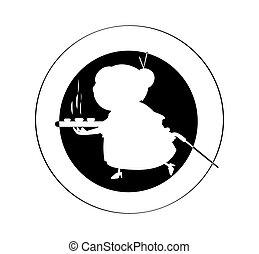 nonna, torta, logotipo, disegno