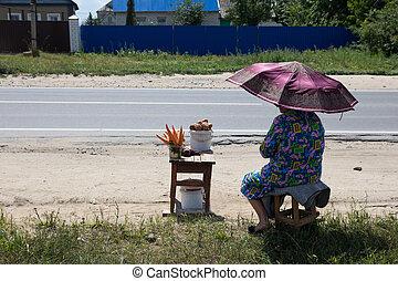 nonna, vende, carote, e, patate, strada