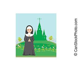 nonne, forside, praying, kirke