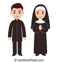 nonne, katholik, pfarrer