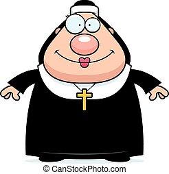 nonne, lächeln, karikatur