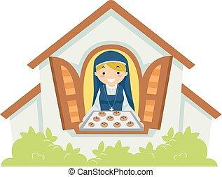 nonne, pige, småkager, illustration, almissen