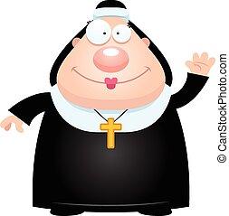 nonne, winkende , karikatur